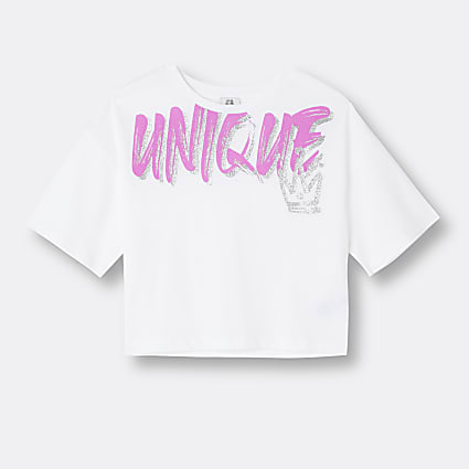 Girls white 'Unique' slogan t-shirt