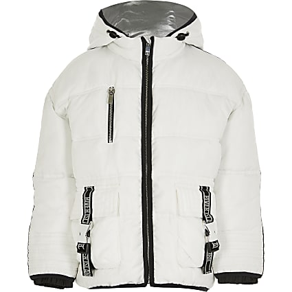 Girls white utility puffer coat