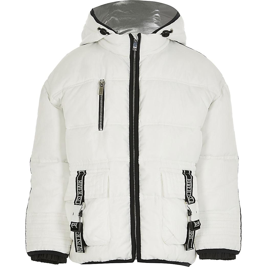 Girls white utility puffer coat