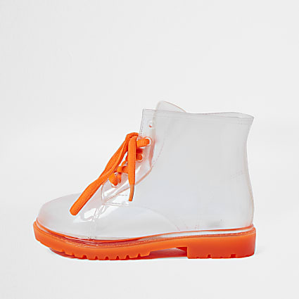 Girls white vinyl laced wellington boots