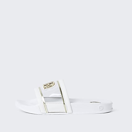 Girls white vinyl sliders