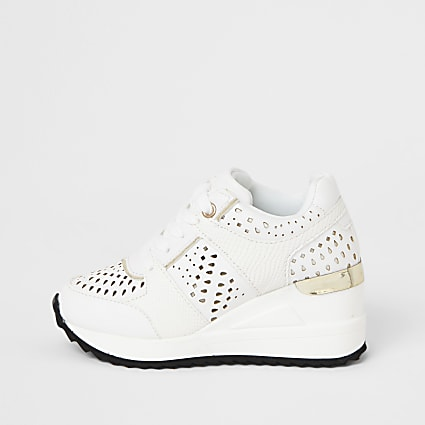 Girls white wedge lace up trainer