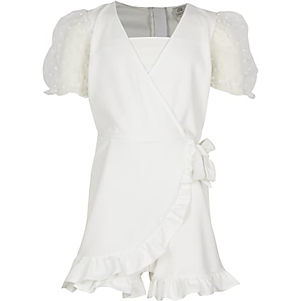 Girls white wrap puff sleeve frill playsuit
