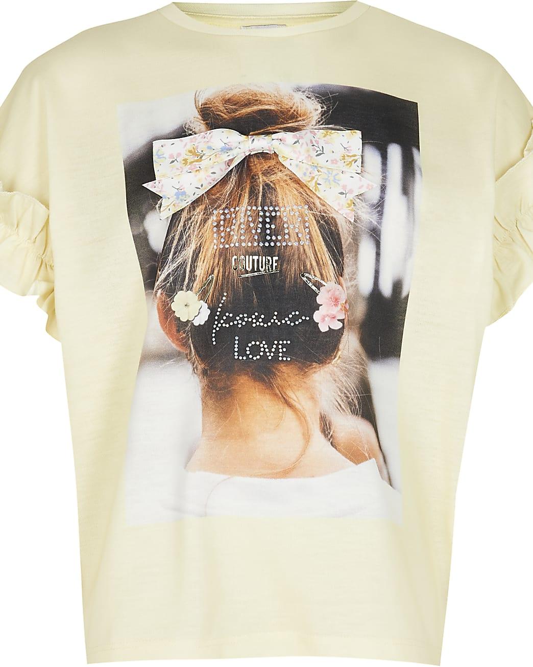 Girls yellow 3D hair design frill t-shirt