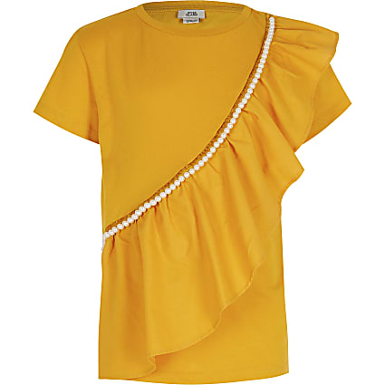 Girls yellow asymmetric frill t-shirt