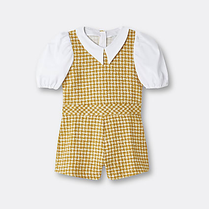Girls yellow boucle collar playsuit