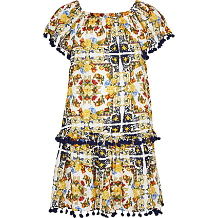 Girls yellow bright scarf print dress
