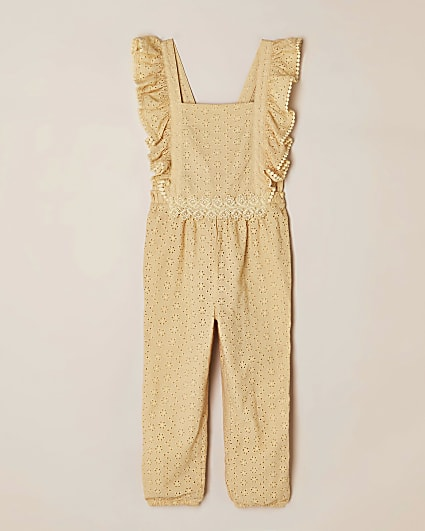 Girls yellow broderie frill jumpsuit
