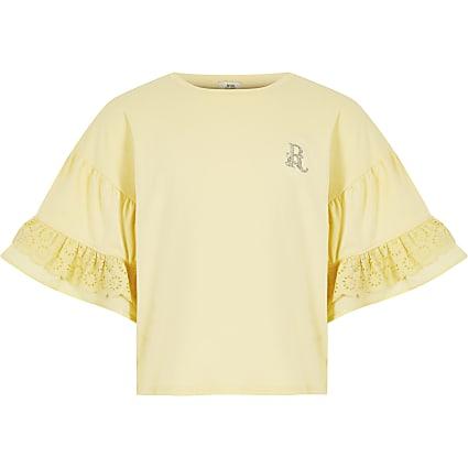 Girls yellow broderie frill sleeve t-shirt