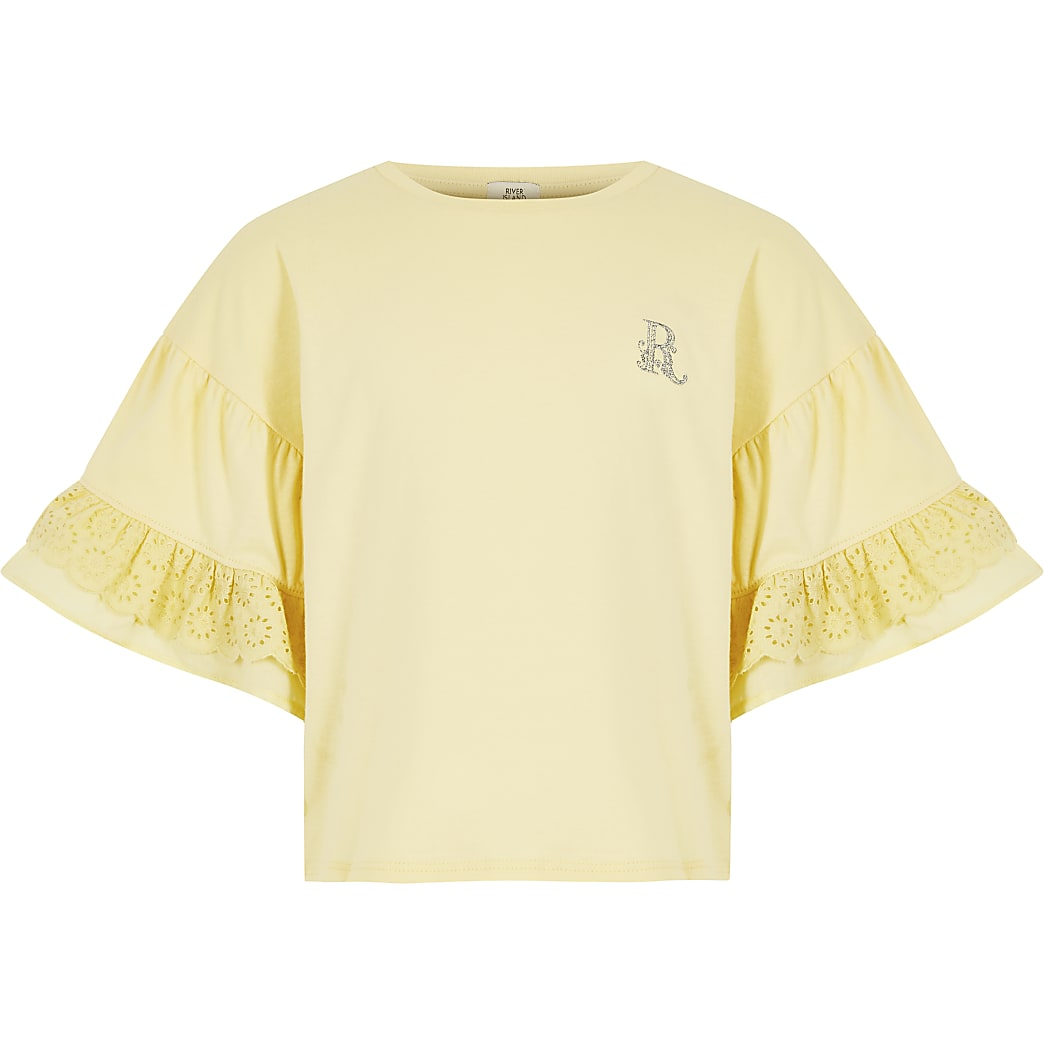 Girls yellow broderie frill sleeve t-shirt