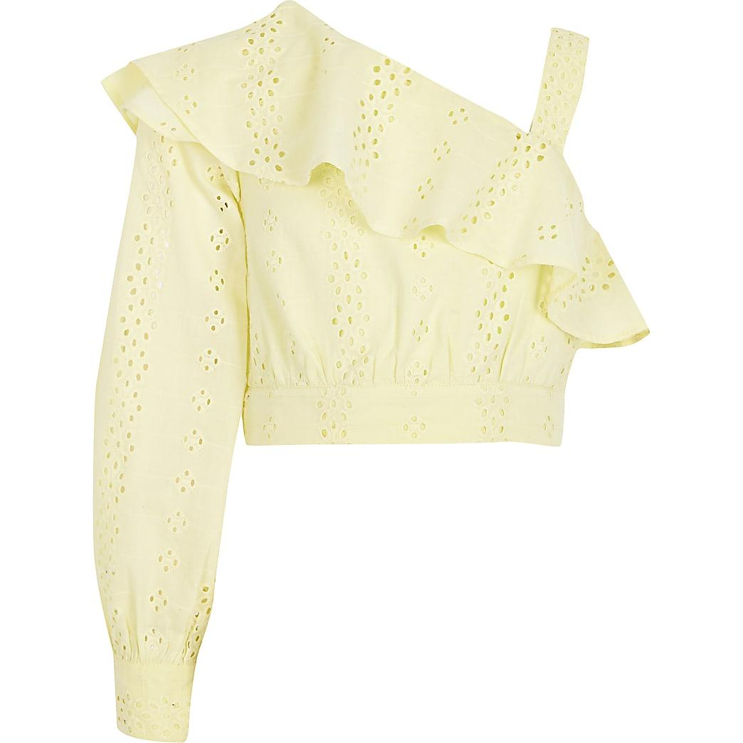 Girls yellow broderie one shoulder crop top