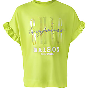 Girls yellow 'Chic' ruffle sleeve T-shirt
