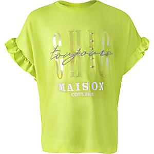 Geel T-shirt met ruchemouwen en 'Chic'-tekst voor meisjes
