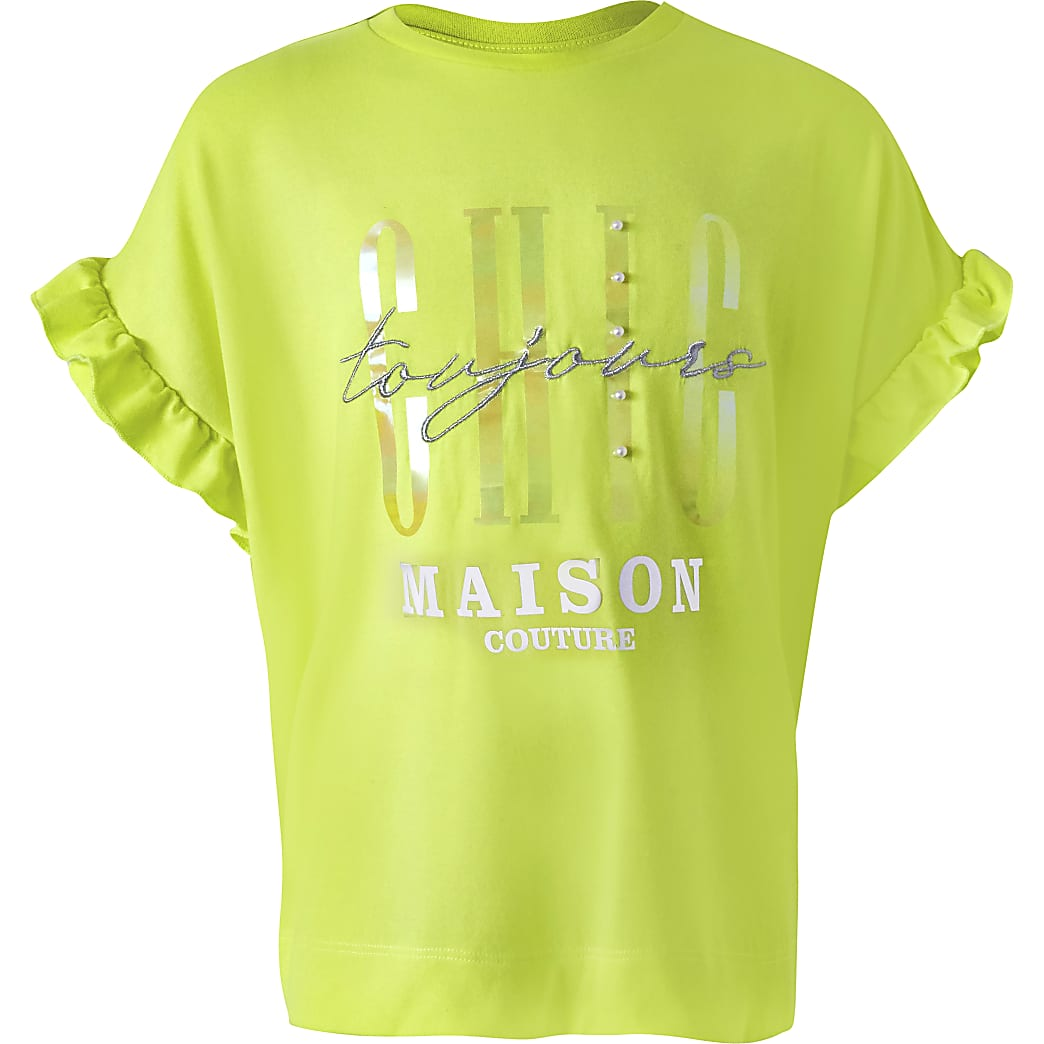 Girls yellow 'Chic' ruffle sleeve T-shirt