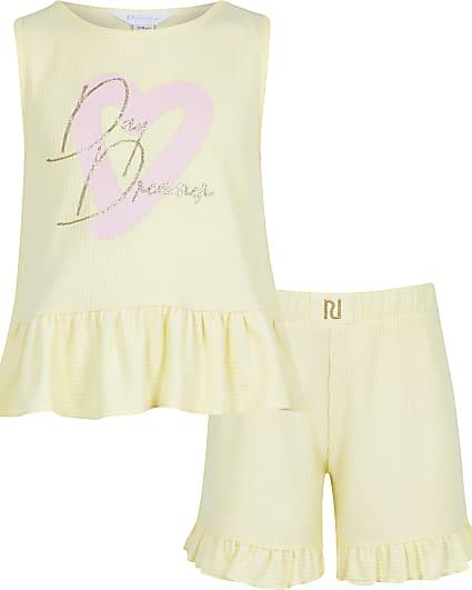 Girls yellow 'Day Dreamer' waffle pyjama set