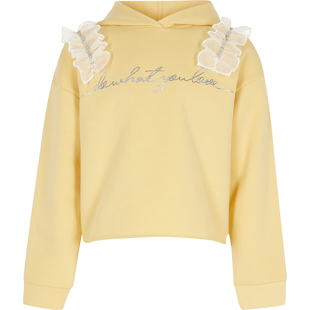 Girls yellow diamante frill hoodie