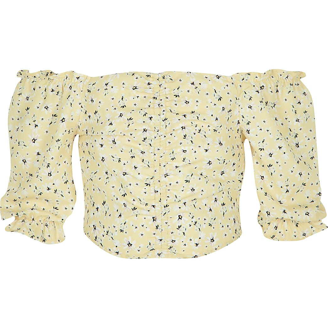 Girls yellow ditsy print bardot top