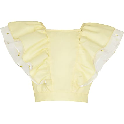 Girls yellow double layered frill top