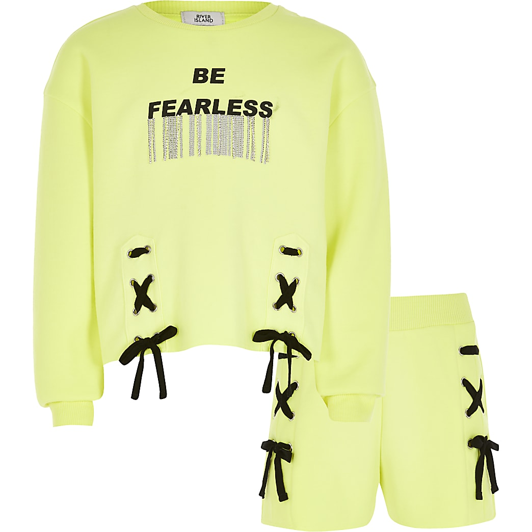 Girls yellow 'Fearless' sweatshirt outfit