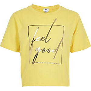 Girls yellow 'Feel good' cropped T-shirt