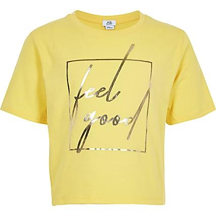 Girls yellow 'Feel good' cropped T-shirt
