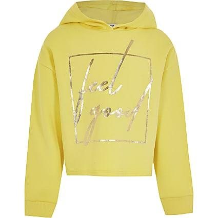 Girls yellow 'Feel Good' slogan hoodie