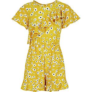 Gele playsuit met bloemenprint en asymmetrische ruches voor meisjes