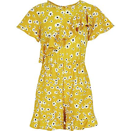Girls yellow floral asymmetric frill playsuit