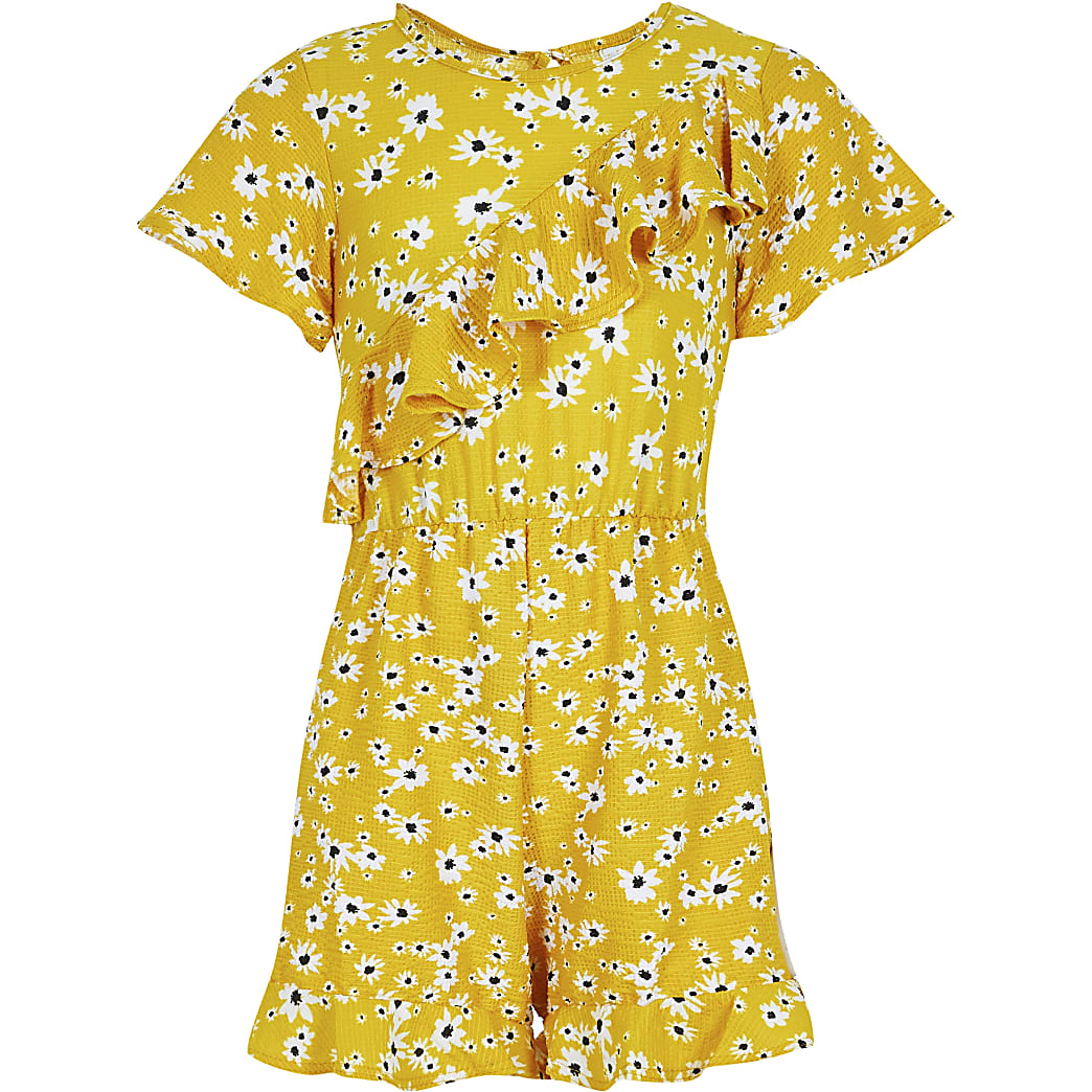 Girls yellow floral asymmetric frill playsuit