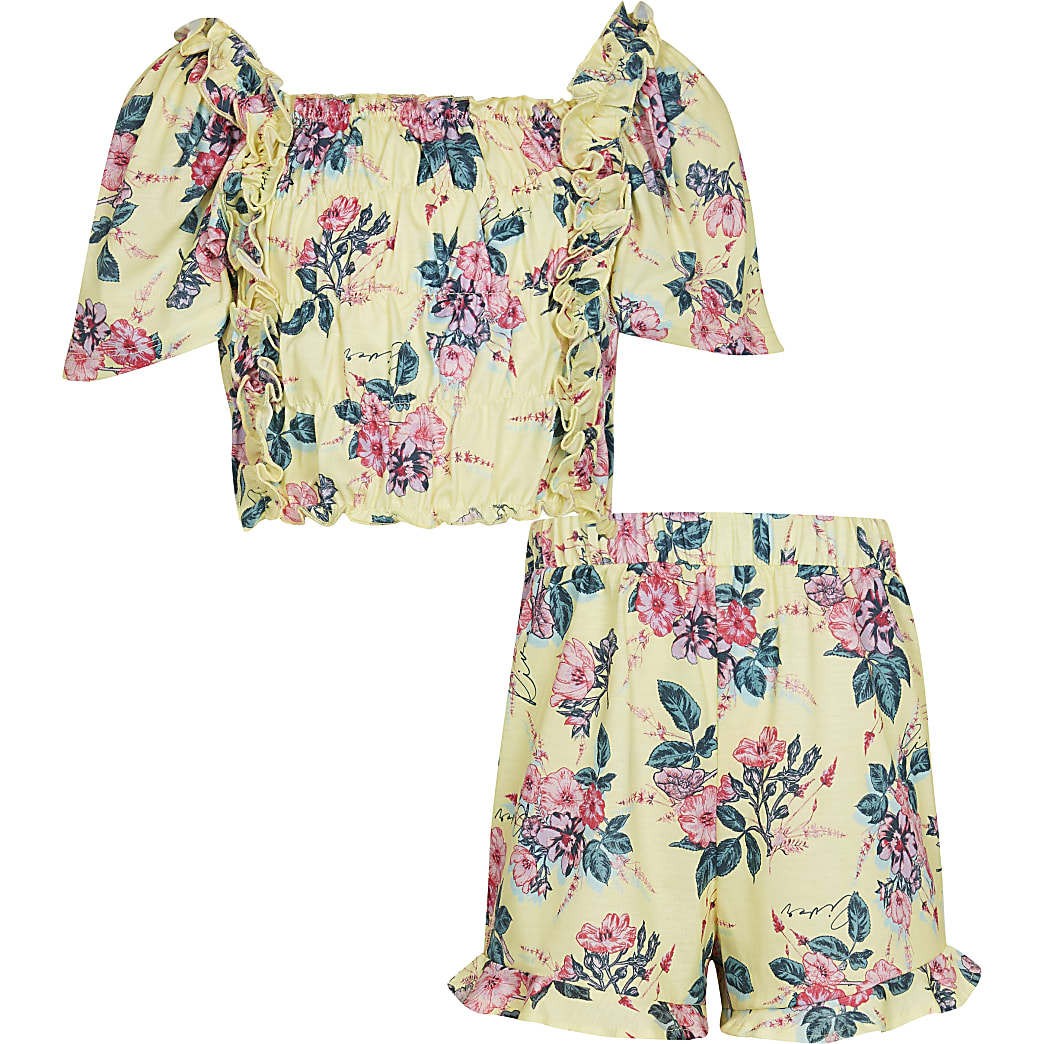 Girls yellow floral co-ord outfit