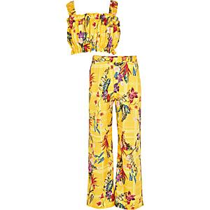 Tenue avec top court jauneà fleurs pour fille