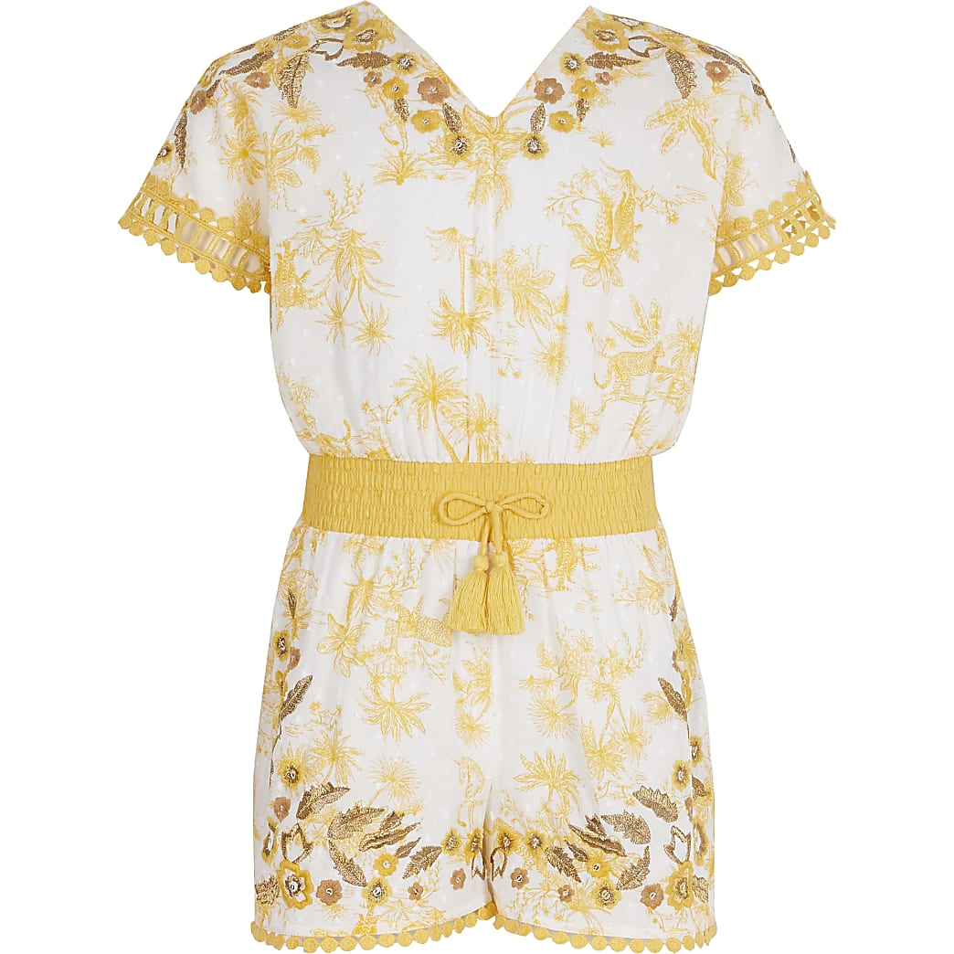 Girls yellow floral embroidered playsuit