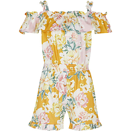 Girls yellow floral playsuit