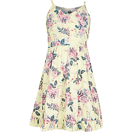Girls yellow floral wrap dress