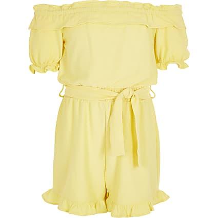 Girls yellow frill bardot belted playsuit