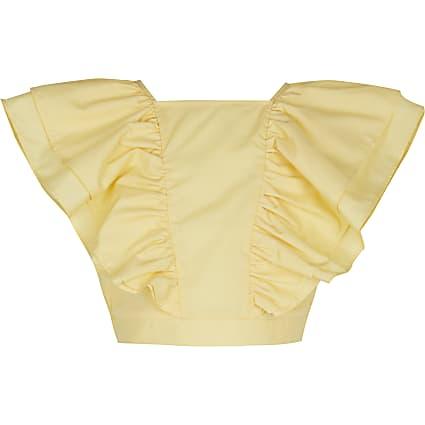 Girls yellow frill blouse top
