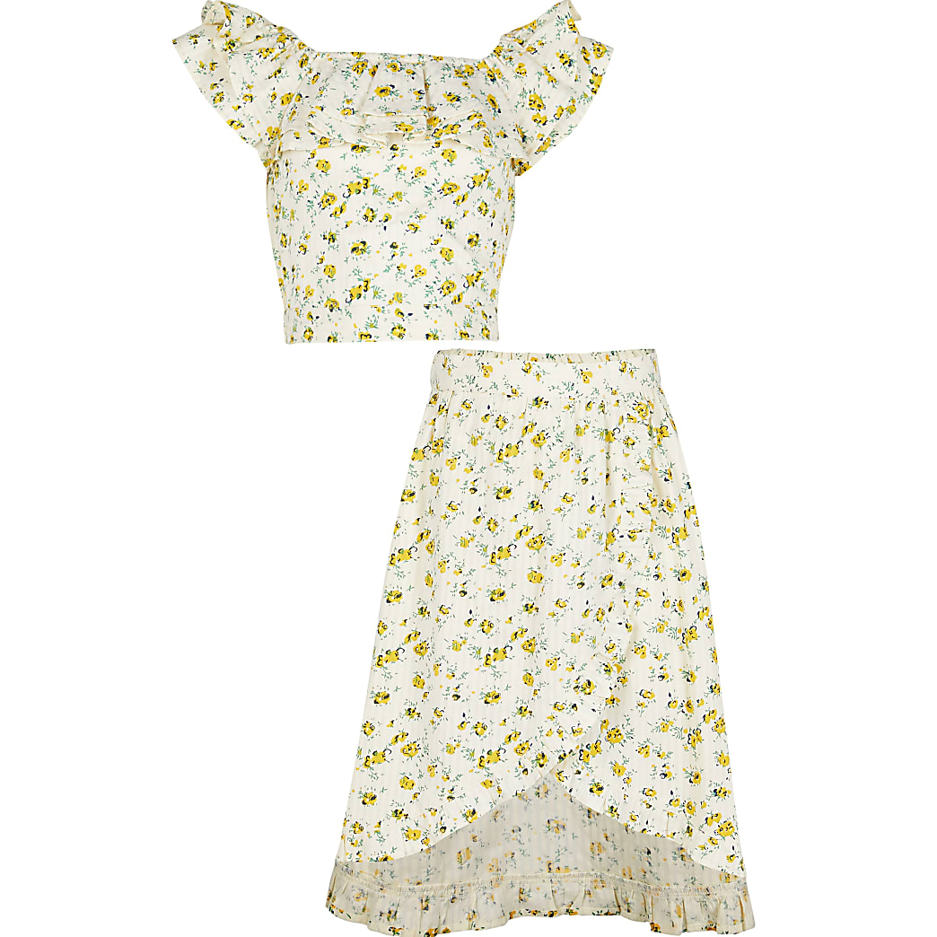 Girls yellow frill floral skirt outfit