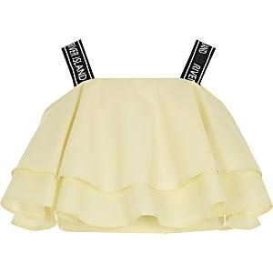 Gele crop top met RI bandjes en ruches voor meisjes