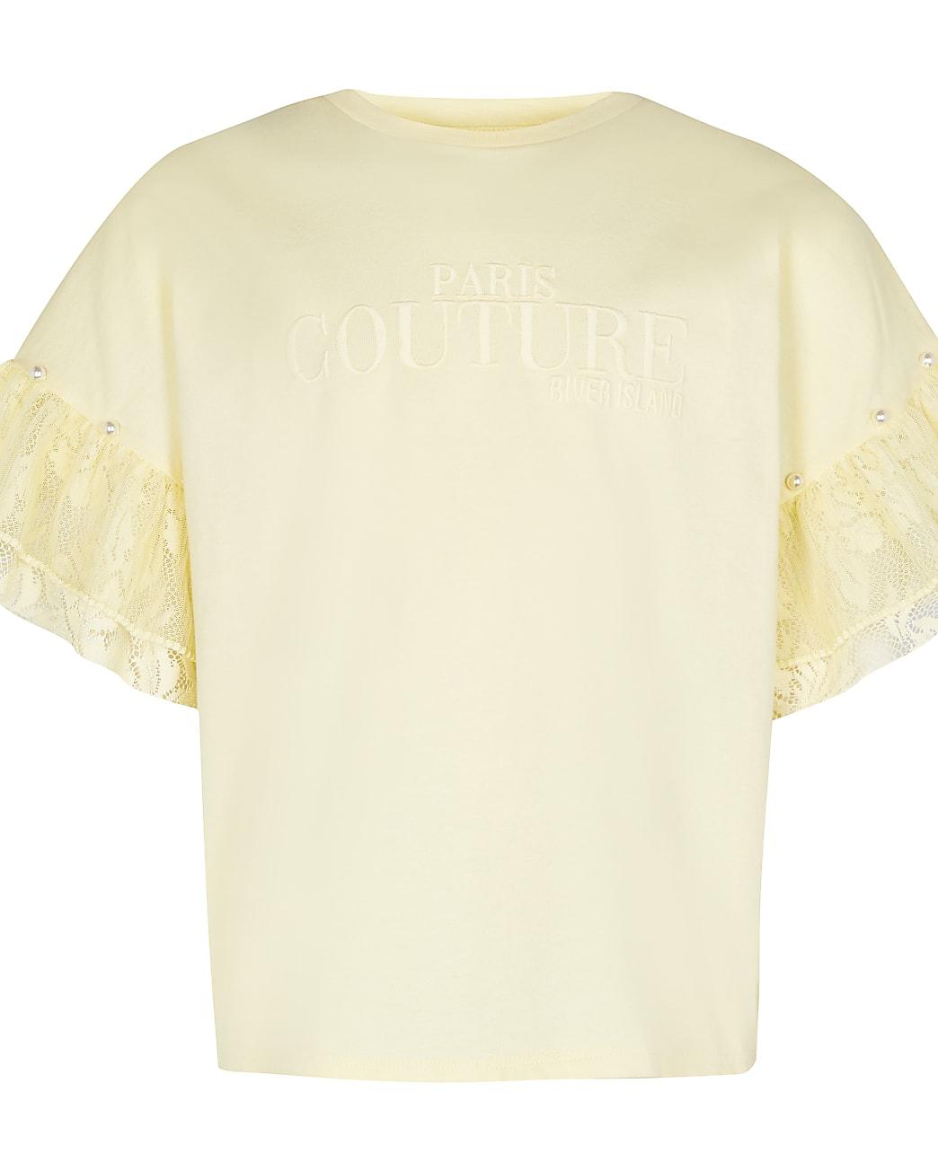 Girls yellow frill sleeve t-shirt