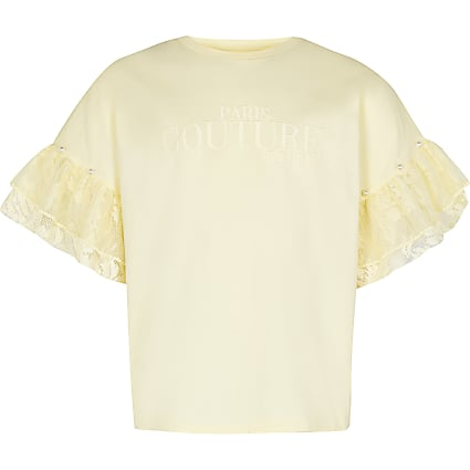 Girls yellow frill sleeve t-shirt