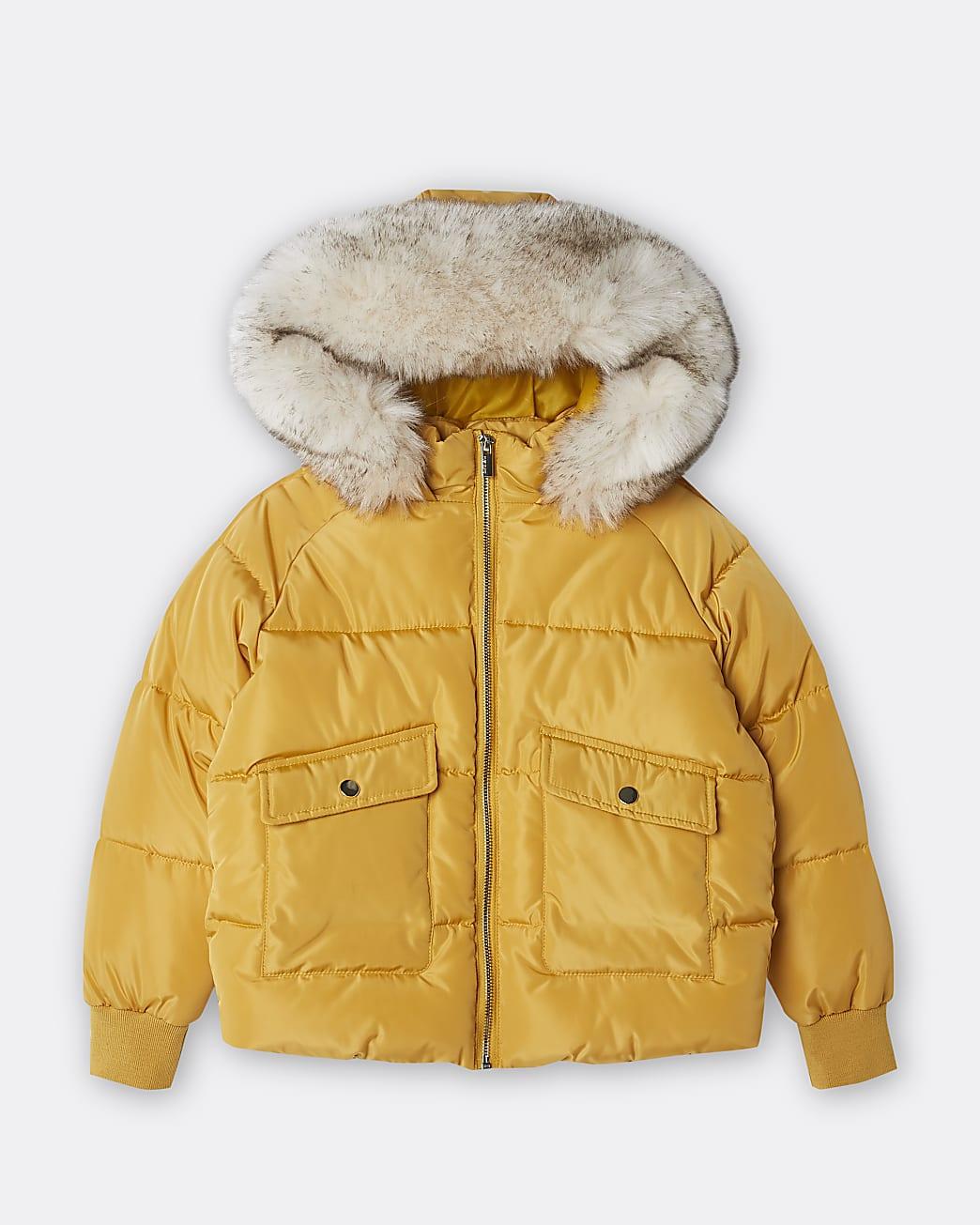 Girls yellow hooded faux fur puffer coat