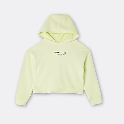 Girls yellow 'kindness club' washed hoodie
