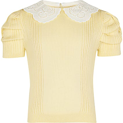Girls yellow knit collar top