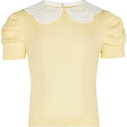 Girls yellow knit collar top