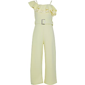 Girls yellow lace frill bardot jumpsuit
