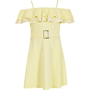Gelbes Bardot-Kleid im Skater-Look mit Spitzenrüschen für Mädchen