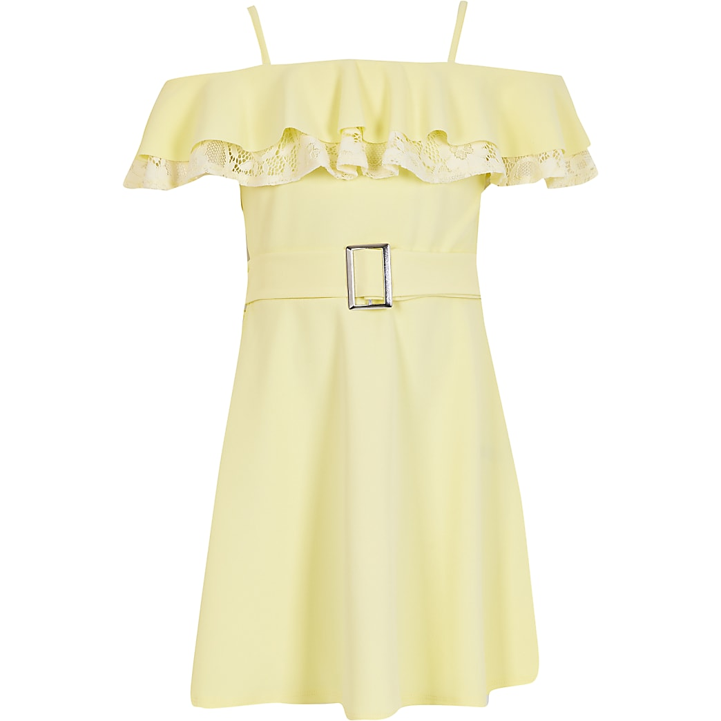 Girls Yellow lace frill bardot skater dress