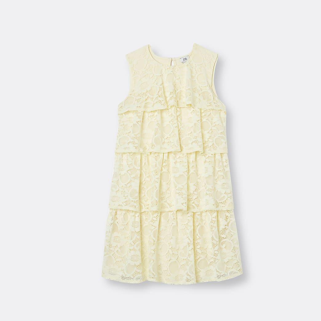 Girls yellow lace frill dress