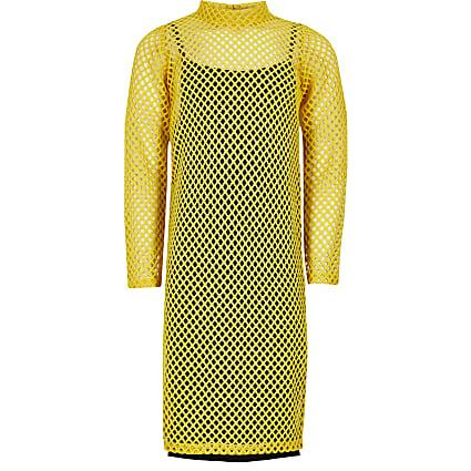 Girls yellow long sleeve mesh midi dress
