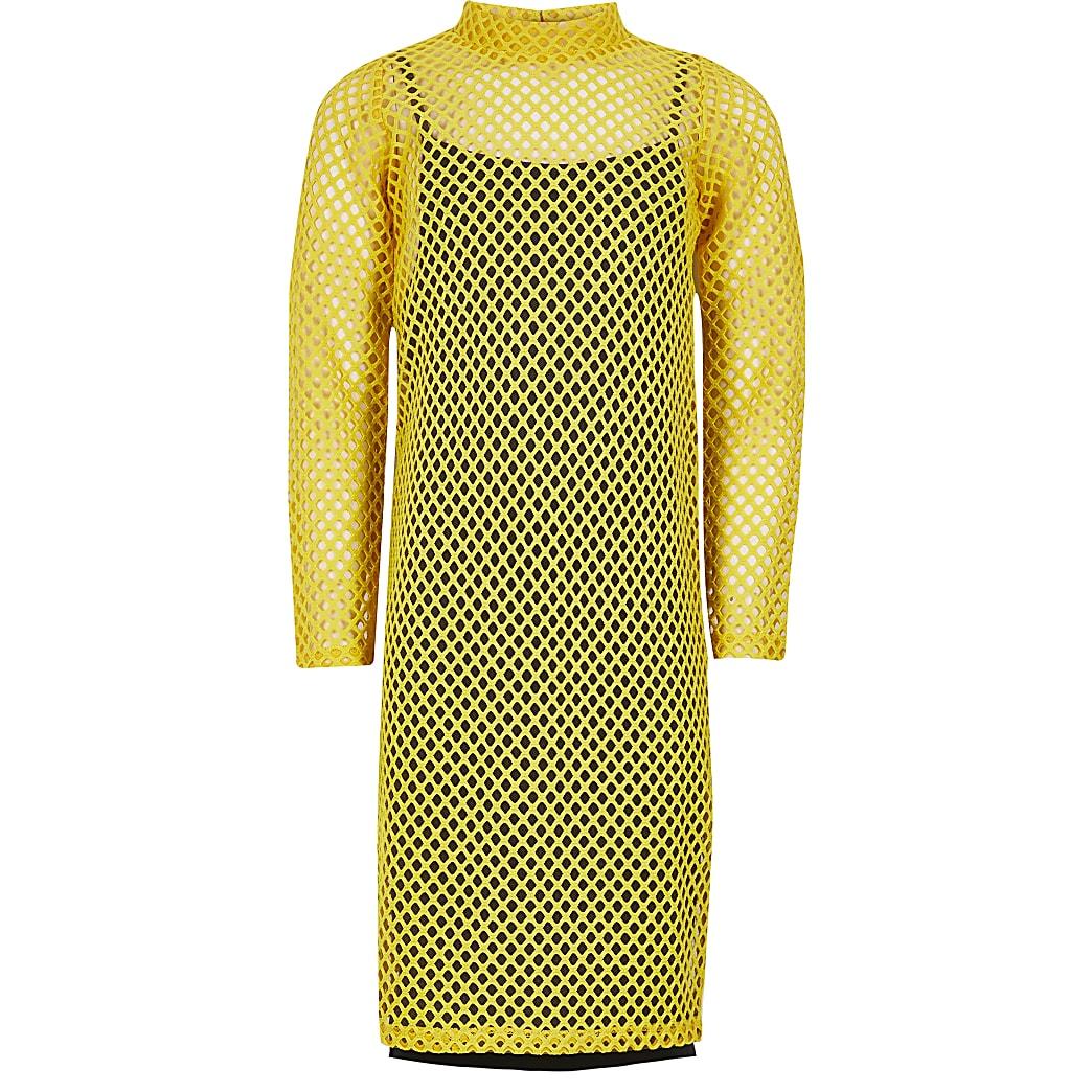 Gele midi-jurk van mesh met lange mouwen  voor meisjes